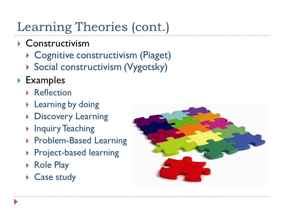 Learning Theories (cont.) Constructivism Cognitive constructivism (Piaget) Social constructivism (Vygotsky) Examples Reflection Learning by doing Discovery Learning Inquiry Teaching Problem-Based Learning Project-based learning Role Play Case study