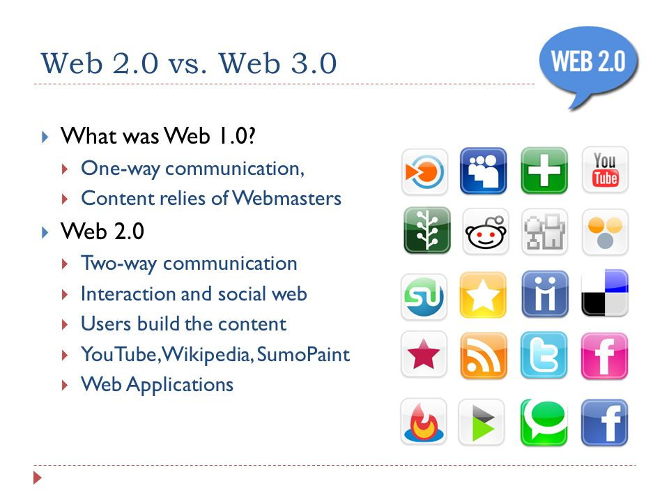 Web 2.0 vs. Web 3.0 What was Web 1.0.