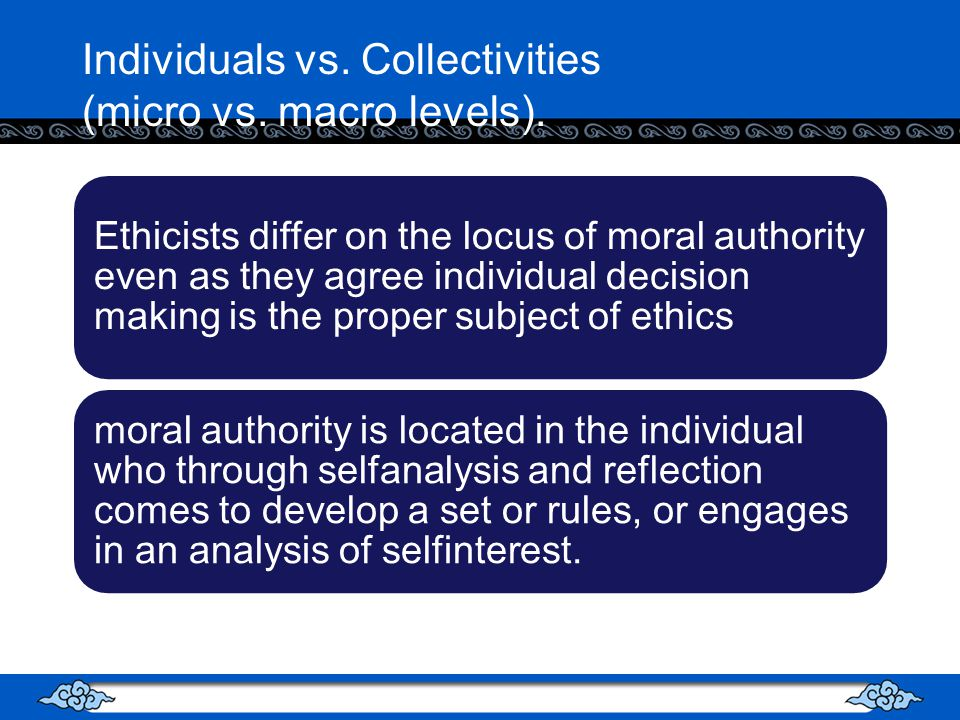 Individuals vs.Collectivities (micro vs. macro levels).