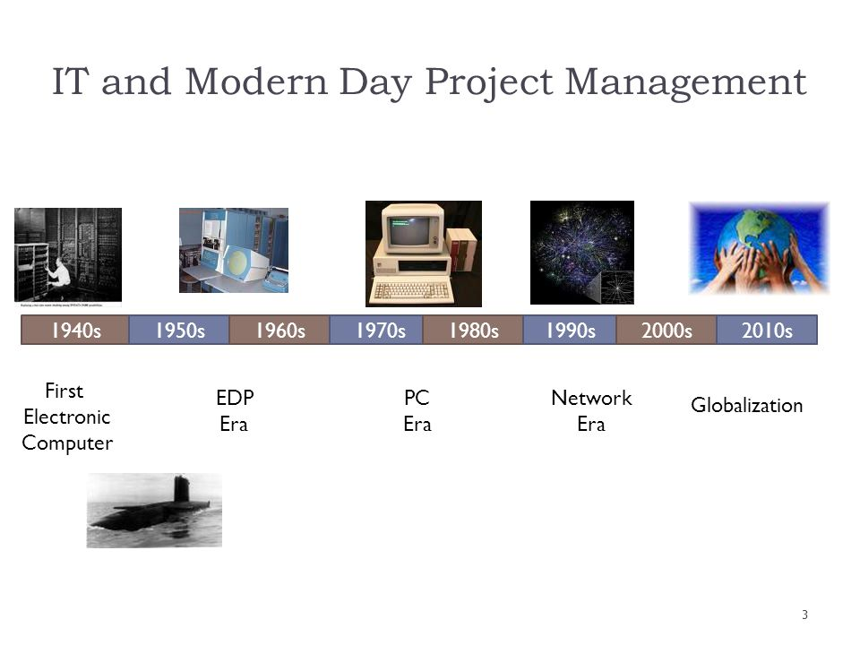 1940s1950s1960s1970s1980s1990s2000s2010s First Electronic Computer EDP Era PC Era Network Era Globalization IT and Modern Day Project Management 3