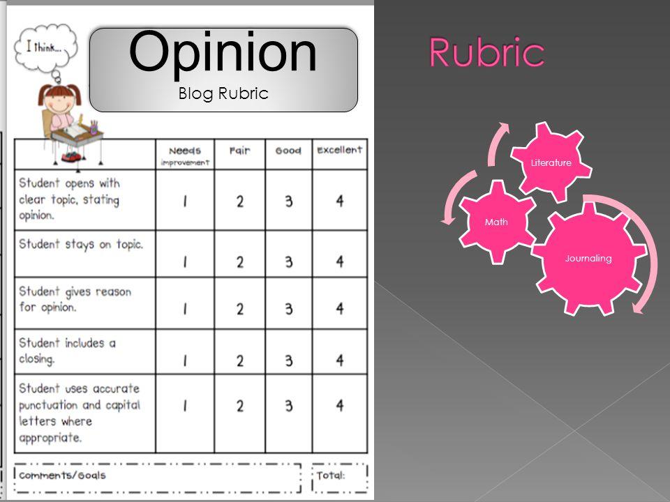 Opinion Blog Rubric Opinion Blog Rubric Journaling Math Literature