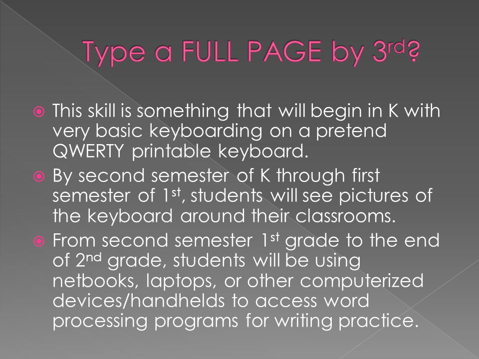 This skill is something that will begin in K with very basic keyboarding on a pretend QWERTY printable keyboard. By second semester of K through first