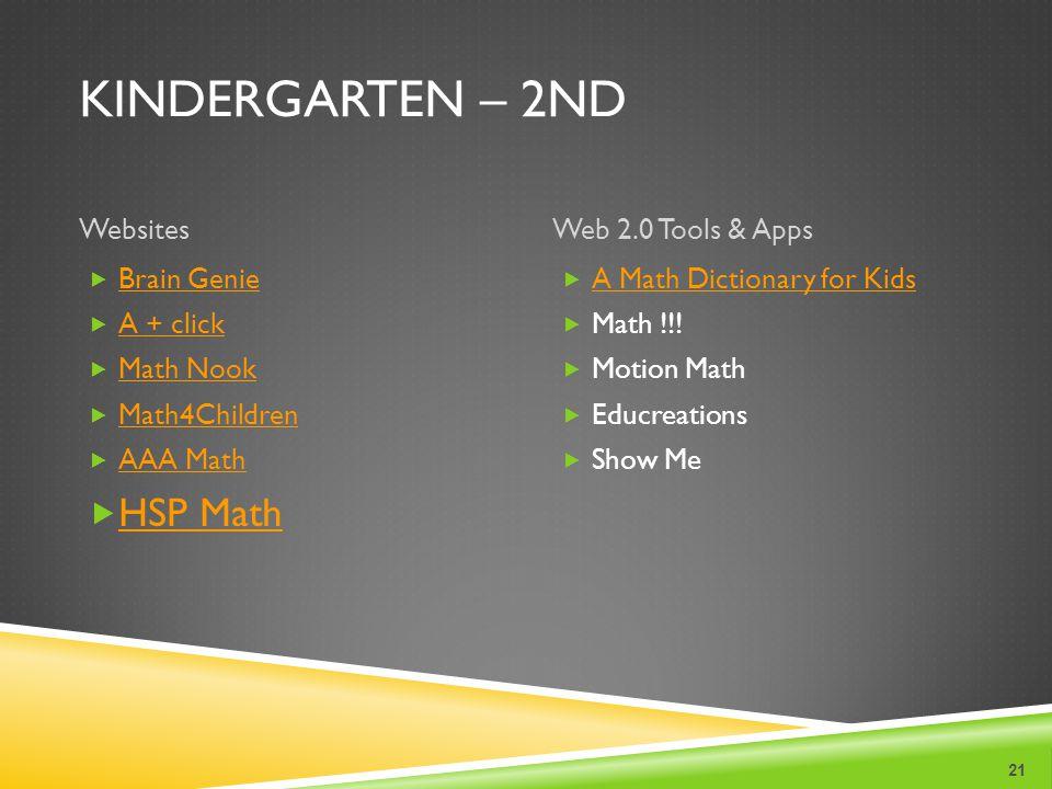 KINDERGARTEN – 2ND WebsitesWeb 2.0 Tools & Apps 21 Brain Genie A + click Math Nook Math4Children AAA Math HSP Math A Math Dictionary for Kids Math !!!