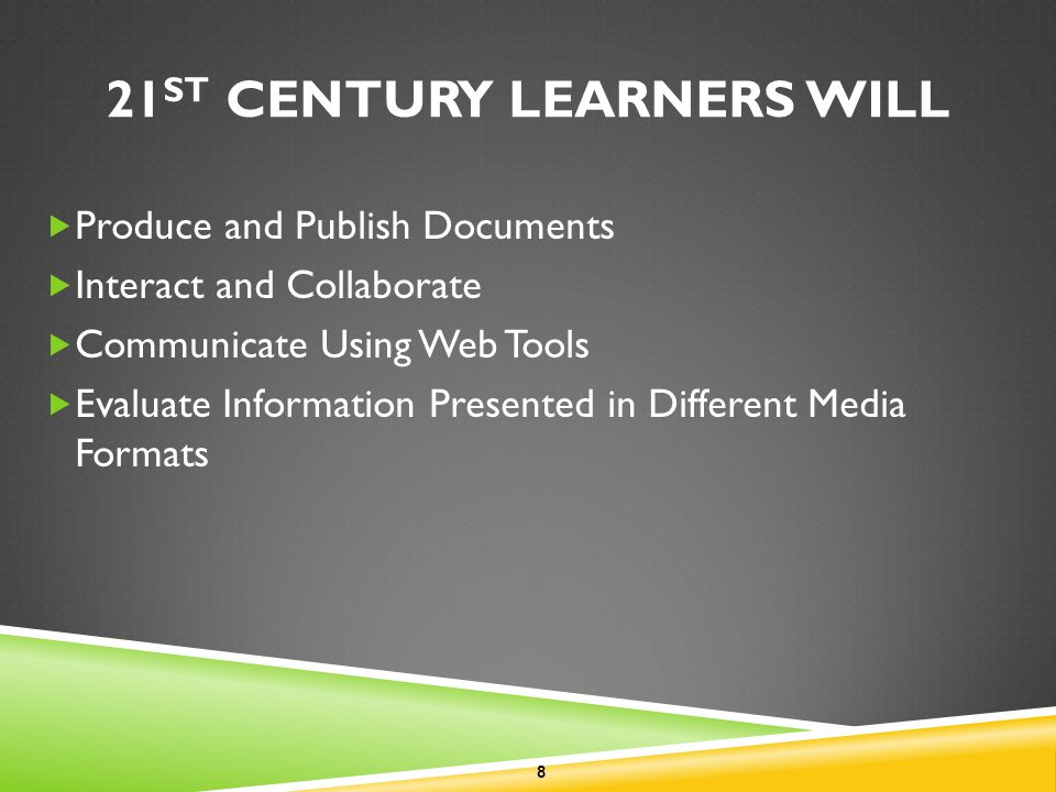 21 ST CENTURY LEARNERS WILL Produce and Publish Documents Interact and Collaborate Communicate Using Web Tools Evaluate Information Presented in Different Media Formats 8
