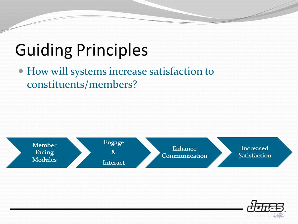 Guiding Principles How will systems increase satisfaction to constituents/members.