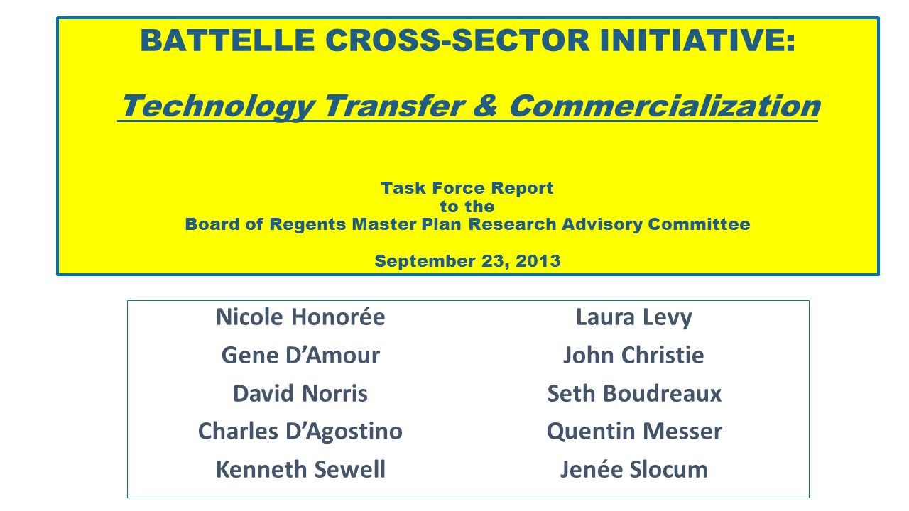 BATTELLES CROSS-SECTOR INITIATIVES TO ENHANCE COLLABORATION BETWEEN INDUSTRY AND HIGHER EDUCATION Cross-Sector Initiatives Technology Transfer & Commercialization Initiatives fostering technology transfer, commercialization and new venture development Research Capacity Enhancing R&D partnerships and collaborations with industry Talent Improving talent connections with industry