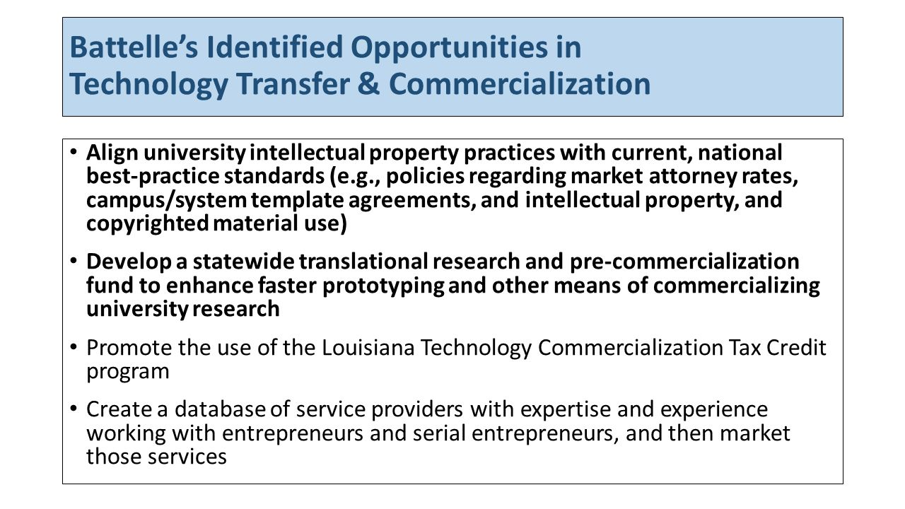 Task Force Modifications to Battelles Identified Opportunities in Technology Transfer & Commercialization 1)Assess and optimize university policies and practices on intellectual property and technology transfer, consistent with national standards.