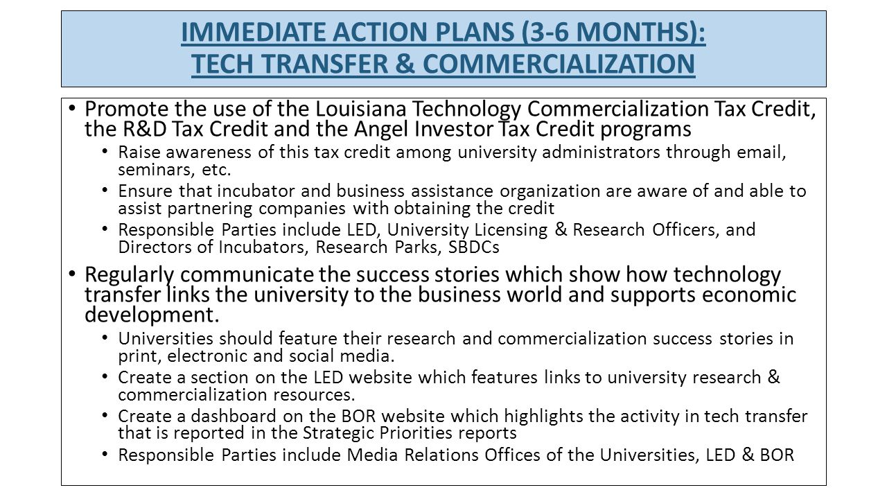 Assess and optimize university policies and practices on intellectual property and technology transfer, consistent with national standards Re-convene the Council of Technology Transfer Officers and establish a regular meeting schedule Catalog current IP policies, practices, resources, staffing and agreements, and compare to national norms.
