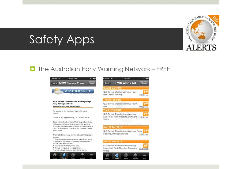 Safety Apps The Australian Early Warning Network – FREE