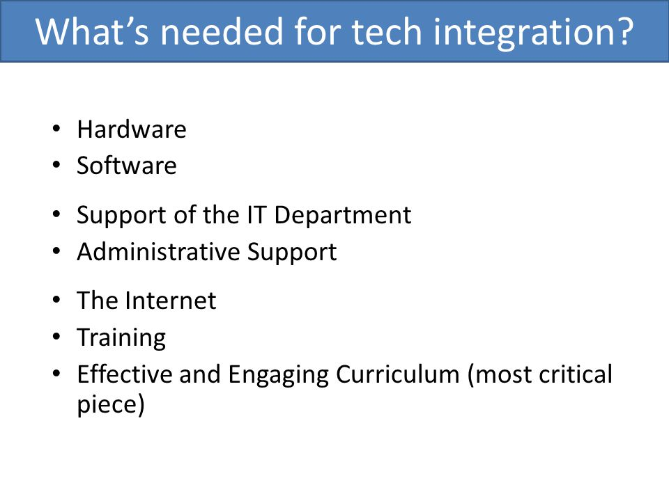 Hardware Software Support of the IT Department Administrative Support The Internet Training Effective and Engaging Curriculum (most critical piece) Wh
