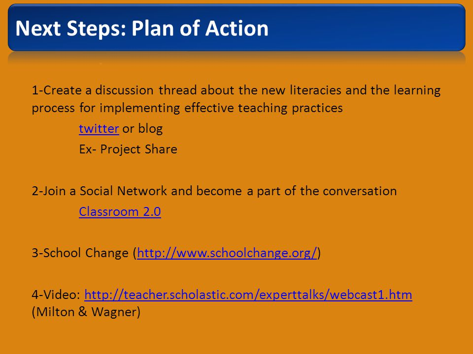 1-Create a discussion thread about the new literacies and the learning process for implementing effective teaching practices twittertwitter or blog Ex