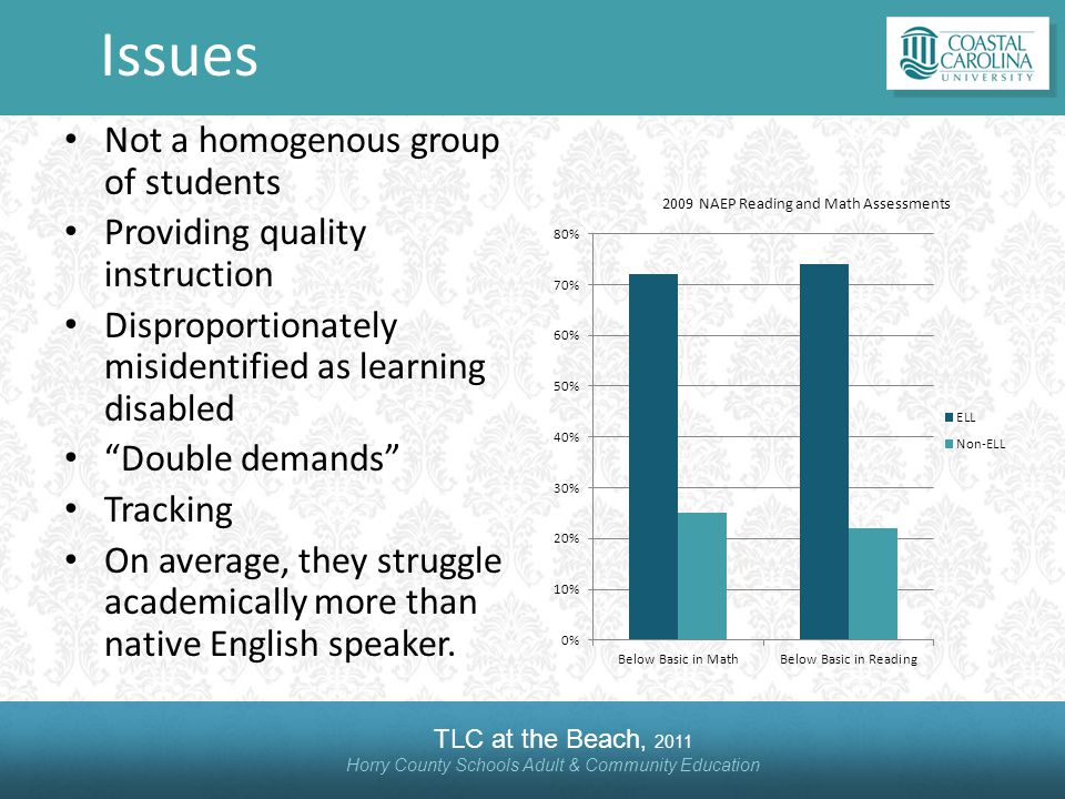 TLC at the Beach, 2011 Horry County Schools Adult & Community Education Issues Not a homogenous group of students Providing quality instruction Disproportionately misidentified as learning disabled Double demands Tracking On average, they struggle academically more than native English speaker.