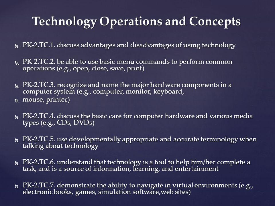 PK-2.TC.1. discuss advantages and disadvantages of using technology PK-2.TC.1.