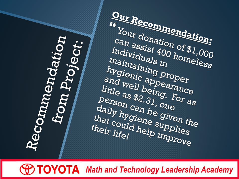 Recommendation from Project: Our Recommendation: Your donation of $1,000 can assist 400 homeless individuals in maintaining proper hygienic appearance and well being.