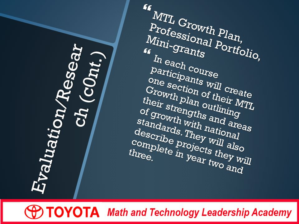 Evaluation/Resear ch (c0nt.) MTL Growth Plan, Professional Portfolio, Mini-grants MTL Growth Plan, Professional Portfolio, Mini-grants In each course participants will create one section of their MTL Growth plan outlining their strengths and areas of growth with national standards.