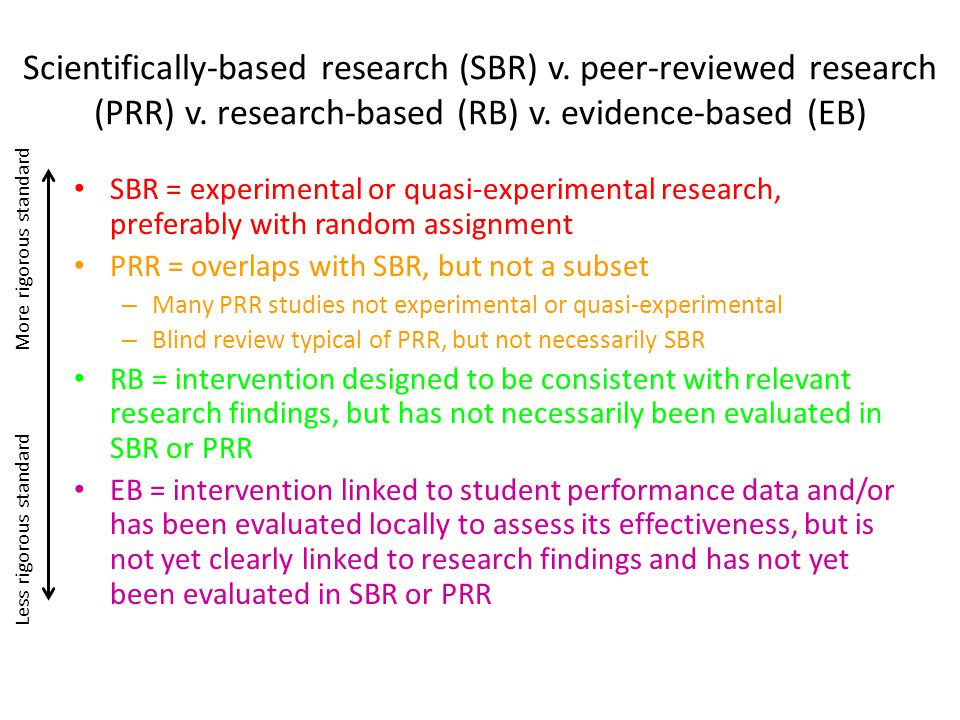 Scientifically-based research (SBR) v. peer-reviewed research (PRR) v. research-based (RB) v. evidence-based (EB) SBR = experimental or quasi-experime