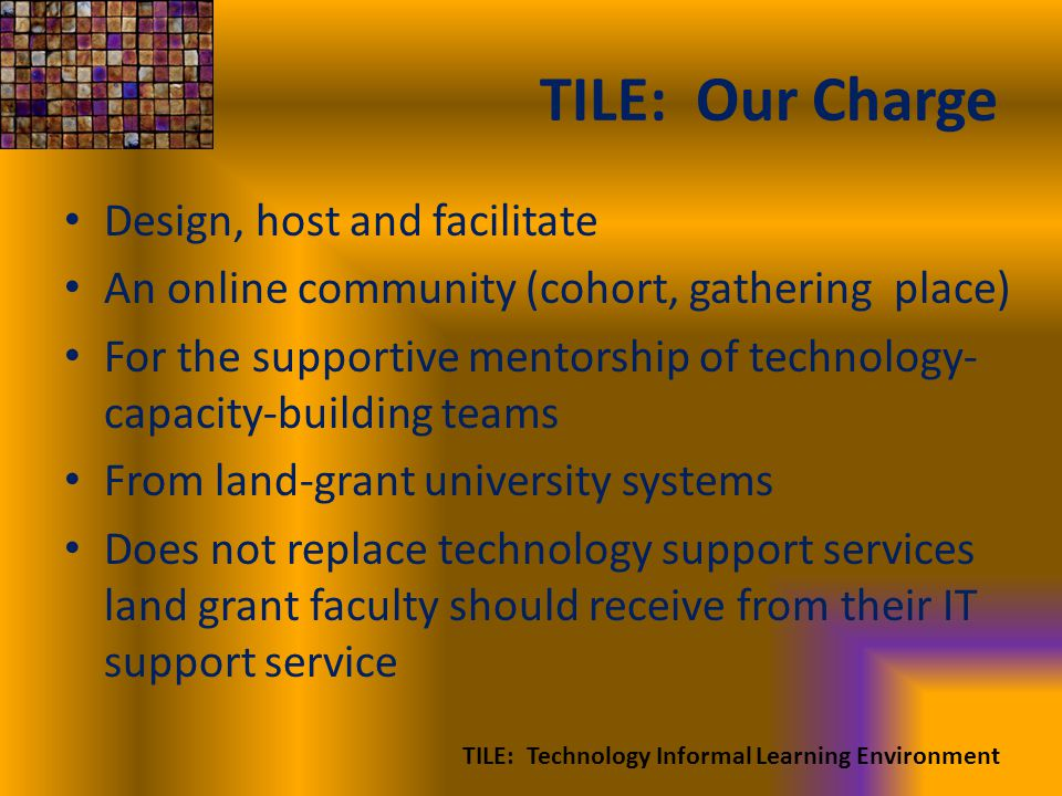 TILE: Our Charge Design, host and facilitate An online community (cohort, gathering place) For the supportive mentorship of technology- capacity-building teams From land-grant university systems Does not replace technology support services land grant faculty should receive from their IT support service TILE: Technology Informal Learning Environment