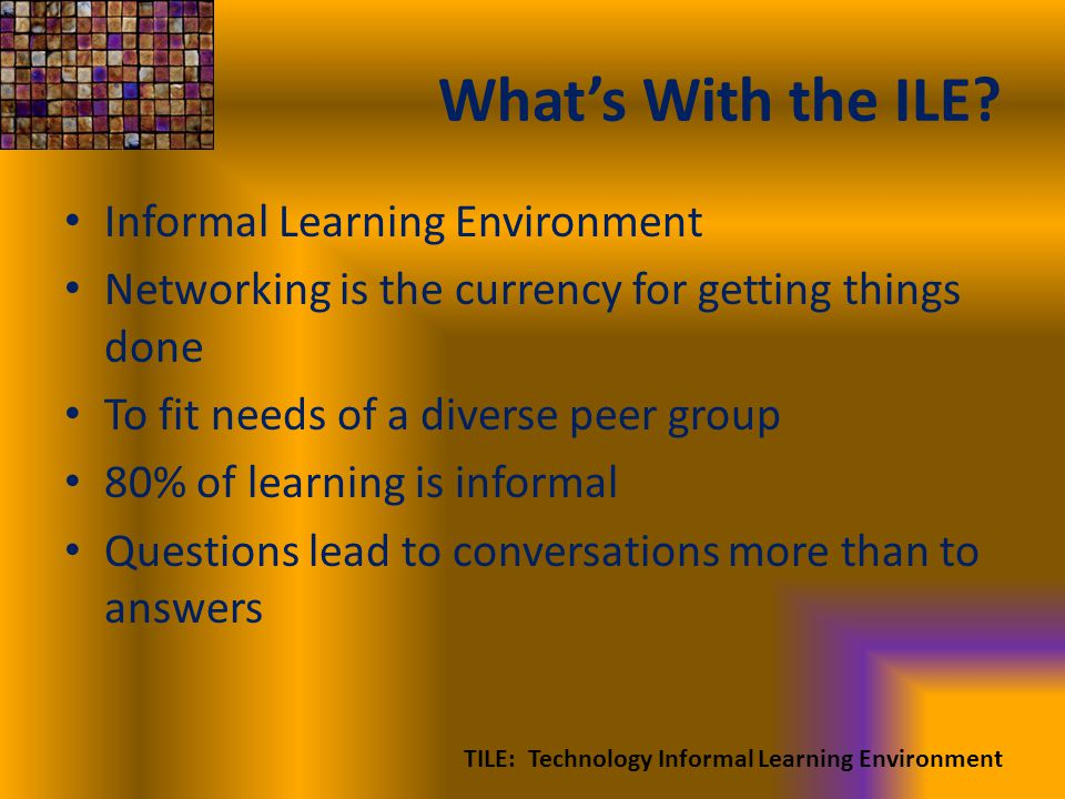 Whats With the ILE? Informal Learning Environment Networking is the currency for getting things done To fit needs of a diverse peer group 80% of learn