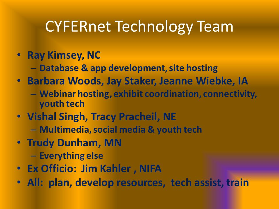 CYFERnet Technology Team Ray Kimsey, NC – Database & app development, site hosting Barbara Woods, Jay Staker, Jeanne Wiebke, IA – Webinar hosting, exhibit coordination, connectivity, youth tech Vishal Singh, Tracy Pracheil, NE – Multimedia, social media & youth tech Trudy Dunham, MN – Everything else Ex Officio: Jim Kahler, NIFA All: plan, develop resources, tech assist, train