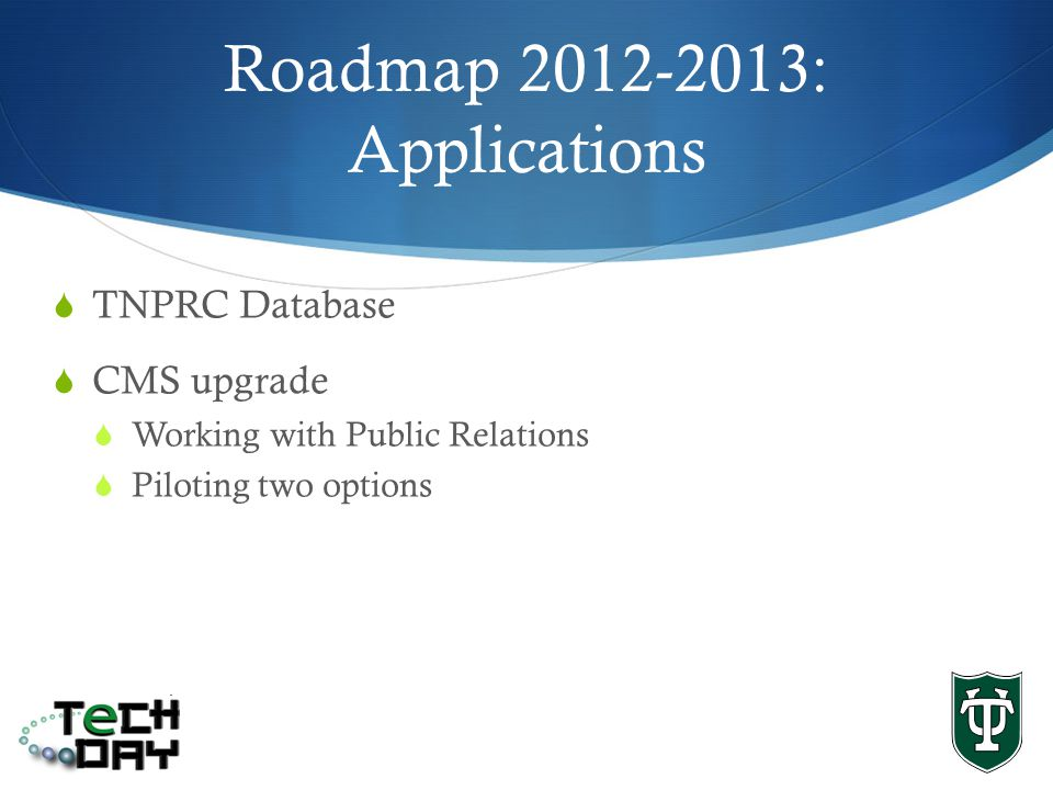 Roadmap 2012-2013: Applications TNPRC Database CMS upgrade Working with Public Relations Piloting two options