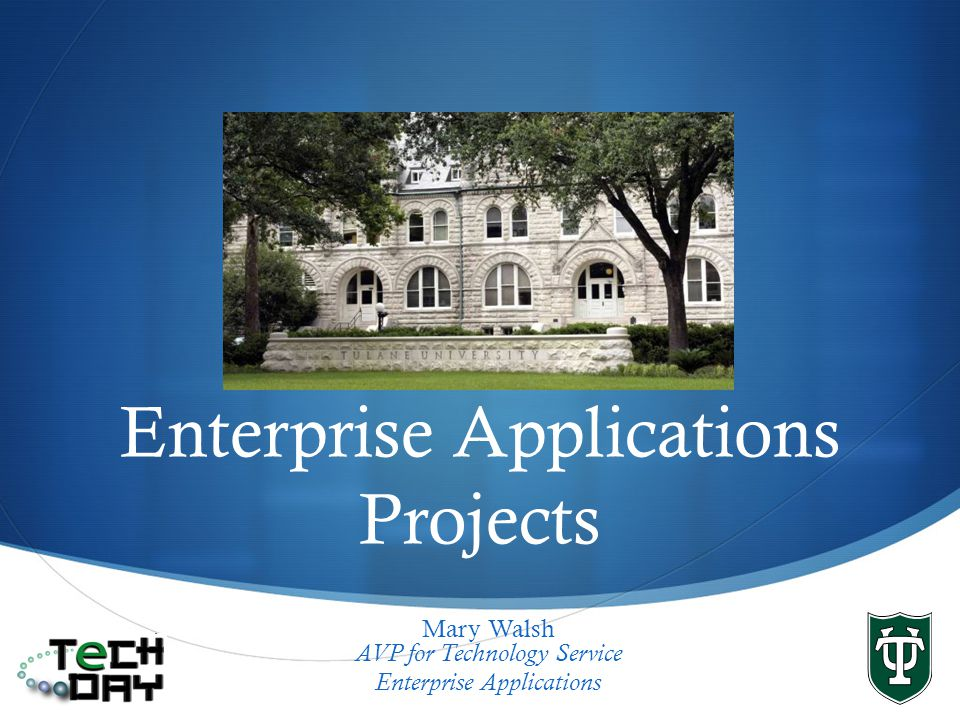 Enterprise Applications Projects Mary Walsh AVP for Technology Service Enterprise Applications