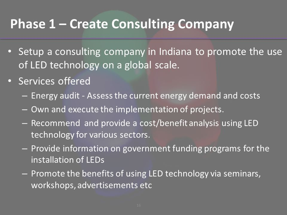 Phase 1 – Create Consulting Company Setup a consulting company in Indiana to promote the use of LED technology on a global scale.
