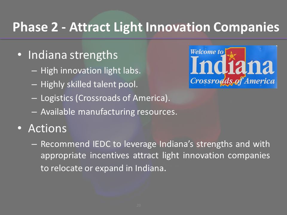 Phase 2 - Attract Light Innovation Companies Indiana strengths – High innovation light labs.