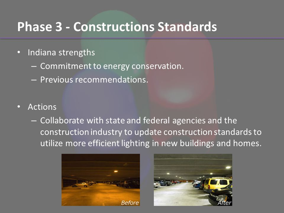 Phase 3 - Constructions Standards Indiana strengths – Commitment to energy conservation.