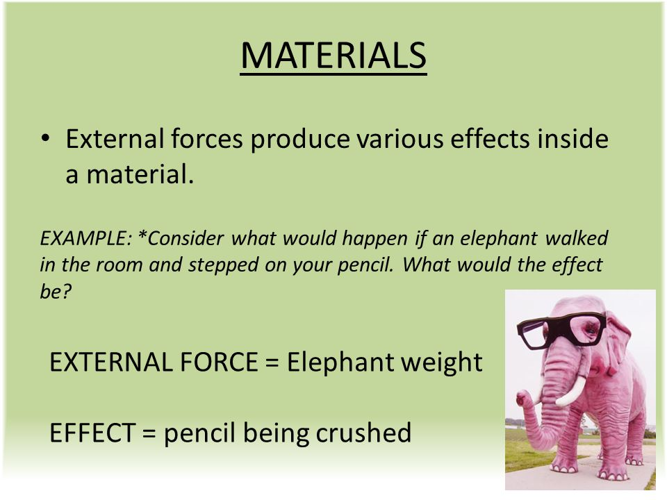 MATERIALS External forces produce various effects inside a material.