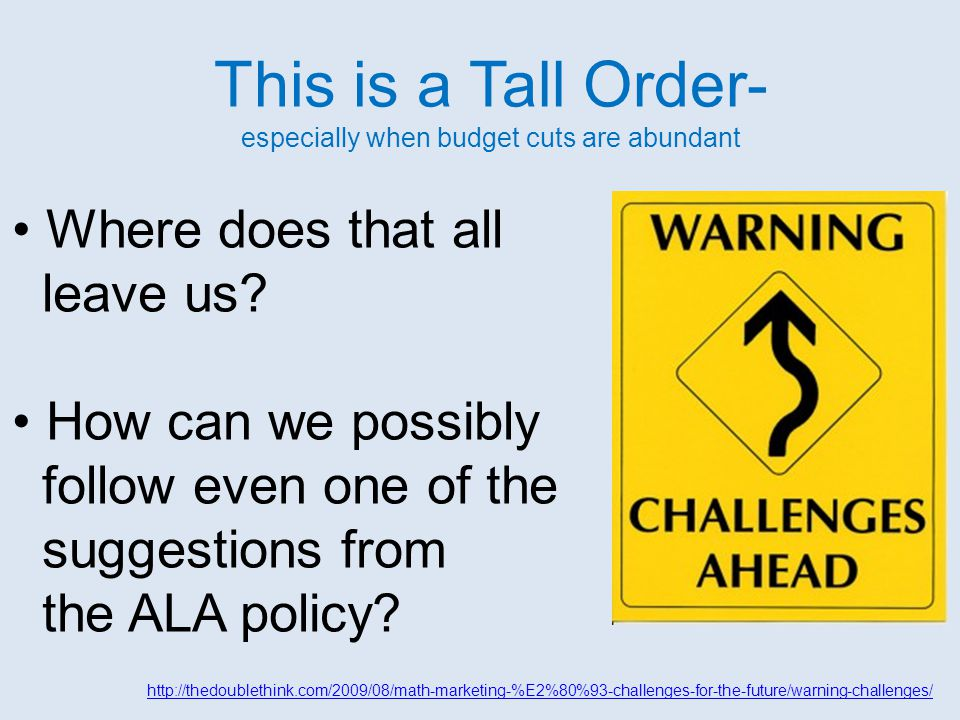 Salient Points Disability Laws and ALA Disability Policy Laws provide people with disabilities with: protection from discrimination rights to equal access to information accommodations ALA Disability Policy suggests that librarians should: use strategies based on principles of universal design be aware of how available technologies address disabilities know how to assist all users with library technology The policy does have several mandates including: Library materials must be accessible to all patrons including people with disabilities.