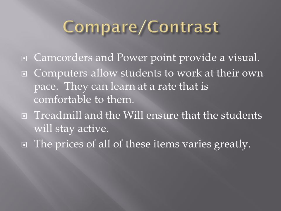 Camcorders and Power point provide a visual. Computers allow students to work at their own pace.