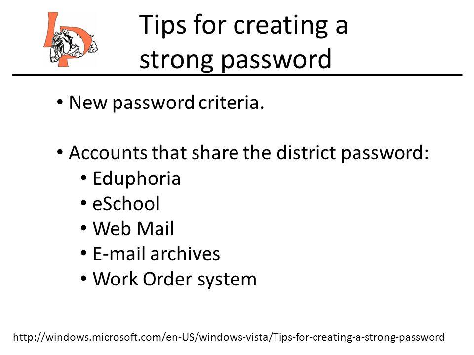 New password criteria.