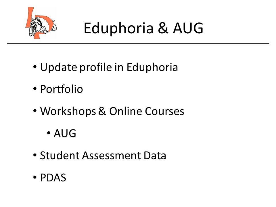 Eduphoria & AUG Update profile in Eduphoria Portfolio Workshops & Online Courses AUG Student Assessment Data PDAS