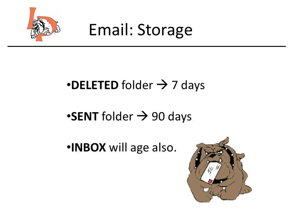 Email: Storage DELETED folder 7 days SENT folder 90 days INBOX will age also.