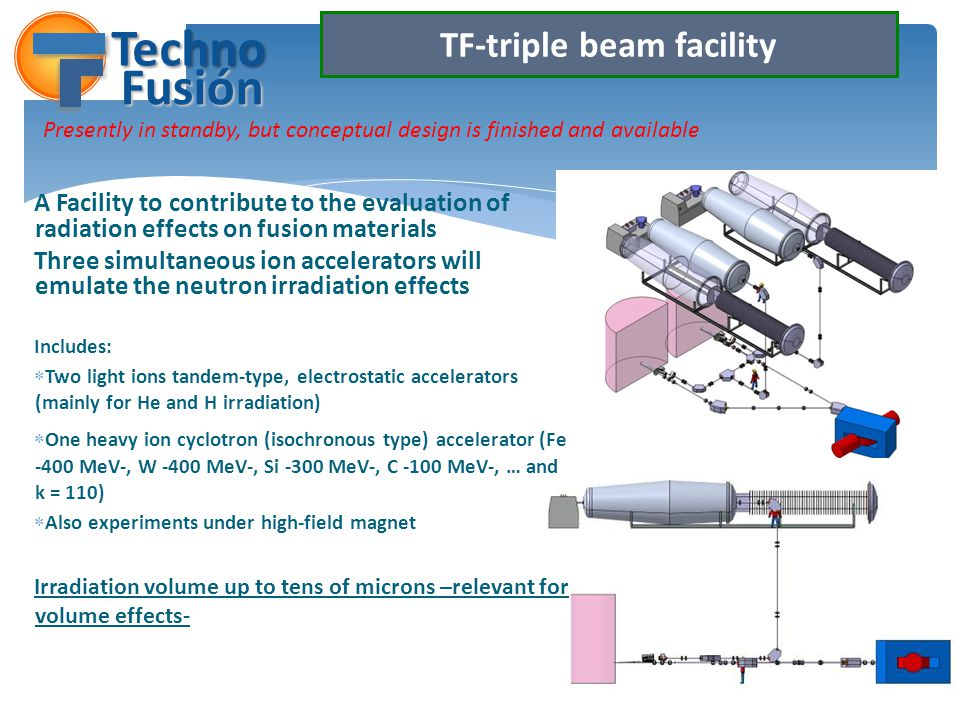 TF-triple beam facility A Facility to contribute to the evaluation of radiation effects on fusion materials Three simultaneous ion accelerators will emulate the neutron irradiation effects Includes: Two light ions tandem-type, electrostatic accelerators (mainly for He and H irradiation) One heavy ion cyclotron (isochronous type) accelerator (Fe -400 MeV-, W -400 MeV-, Si -300 MeV-, C -100 MeV-, … and k = 110) Also experiments under high-field magnet Irradiation volume up to tens of microns –relevant for volume effects- Techno Fusión Presently in standby, but conceptual design is finished and available