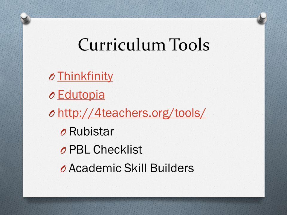 Curriculum Tools O Thinkfinity Thinkfinity O Edutopia Edutopia O http://4teachers.org/tools/ http://4teachers.org/tools/ O Rubistar O PBL Checklist O Academic Skill Builders