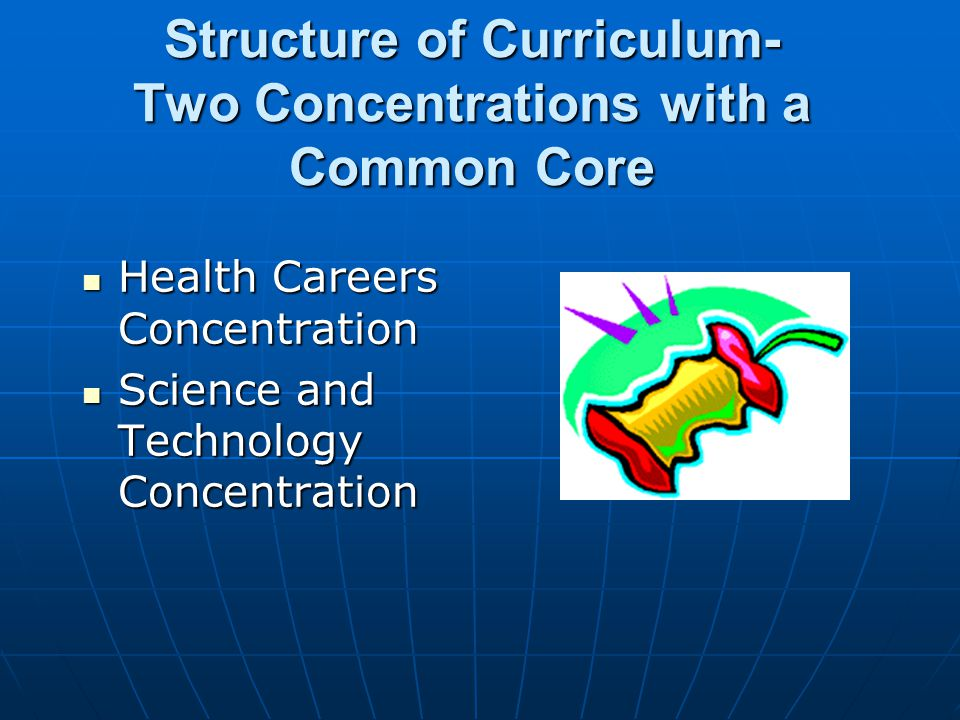 Structure of Curriculum- Two Concentrations with a Common Core Health Careers Concentration Health Careers Concentration Science and Technology Concentration Science and Technology Concentration