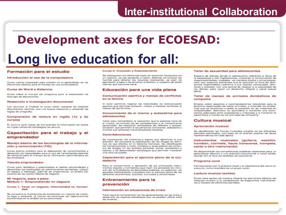 Development axes for ECOESAD: Inter-institutional Collaboration Long live education for all: