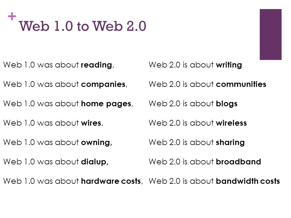 + Web 1.0 to Web 2.0 Web 1.0 was about reading, Web 2.0 is about writing Web 1.0 was about companies, Web 2.0 is about communities Web 1.0 was about h