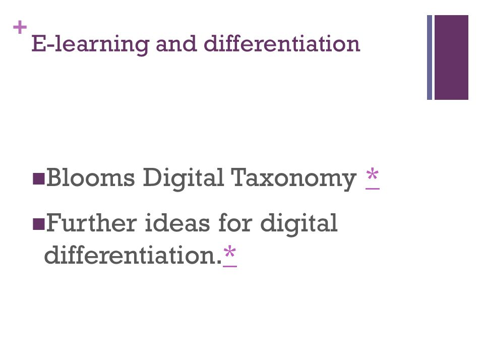+ E-learning and differentiation Blooms Digital Taxonomy ** Further ideas for digital differentiation.**