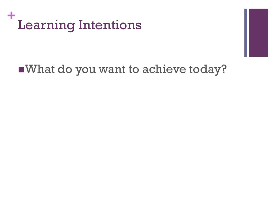 + Learning Intentions What do you want to achieve today?