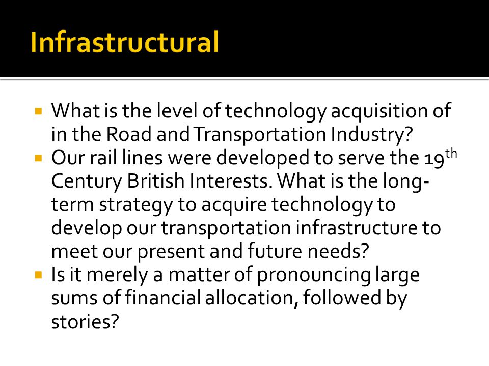 What is the level of technology acquisition of in the Road and Transportation Industry.