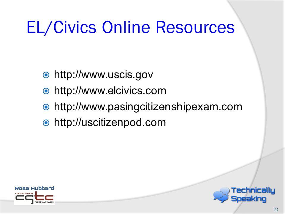 EL/Civics Online Resources http://www.uscis.gov http://www.elcivics.com http://www.pasingcitizenshipexam.com http://uscitizenpod.com 23