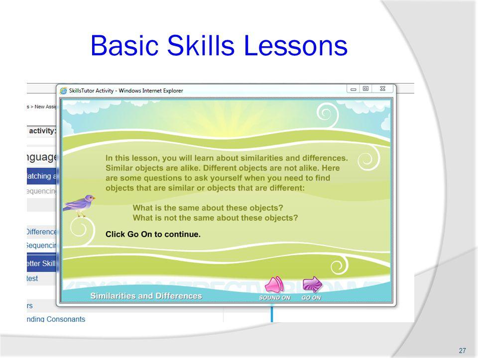 Basic Skills Lessons 27