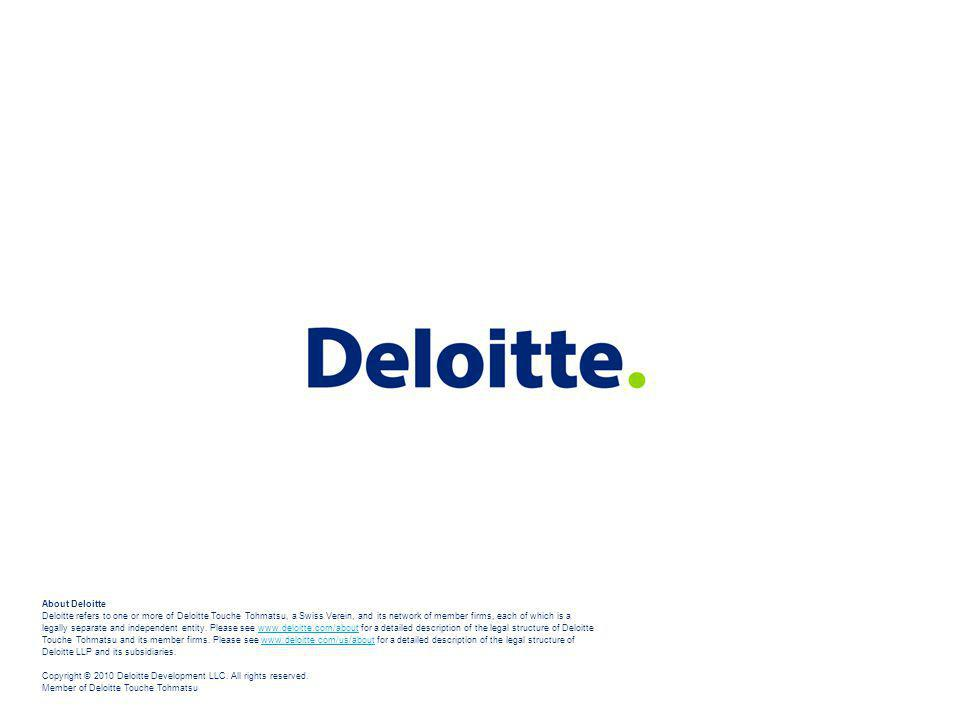 About Deloitte Deloitte refers to one or more of Deloitte Touche Tohmatsu, a Swiss Verein, and its network of member firms, each of which is a legally separate and independent entity.