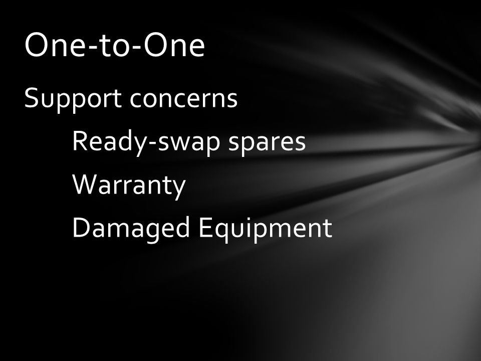 Support concerns Ready-swap spares Warranty Damaged Equipment One-to-One