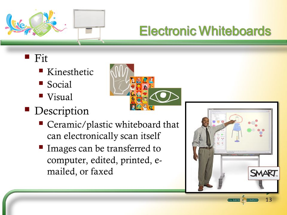 13 Fit Kinesthetic Social Visual Description Ceramic/plastic whiteboard that can electronically scan itself Images can be transferred to computer, edited, printed, e- mailed, or faxed