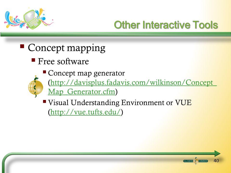 40 Concept mapping Free software Concept map generator (http://davisplus.fadavis.com/wilkinson/Concept_ Map_Generator.cfm)http://davisplus.fadavis.com/wilkinson/Concept_ Map_Generator.cfm Visual Understanding Environment or VUE (http://vue.tufts.edu/)http://vue.tufts.edu/