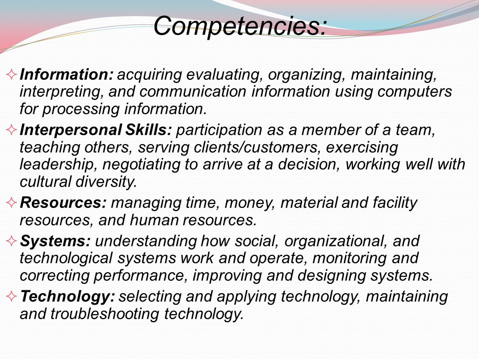 Competencies: Information: acquiring evaluating, organizing, maintaining, interpreting, and communication information using computers for processing i