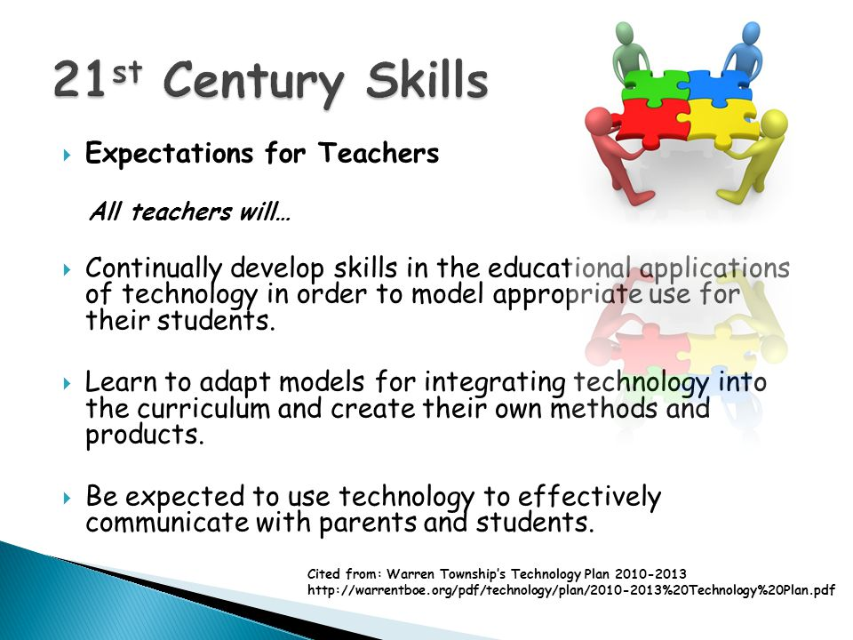 Expectations for Teachers All teachers will… Continually develop skills in the educational applications of technology in order to model appropriate use for their students.